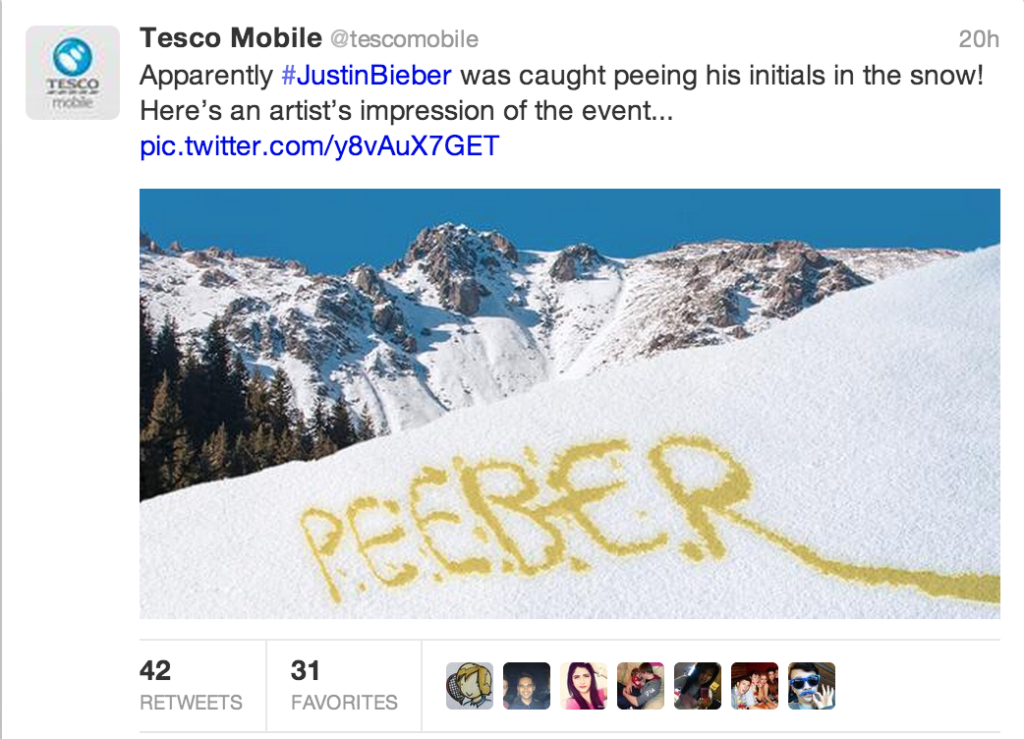 Example of Tesco using a topical piece of humorous content.