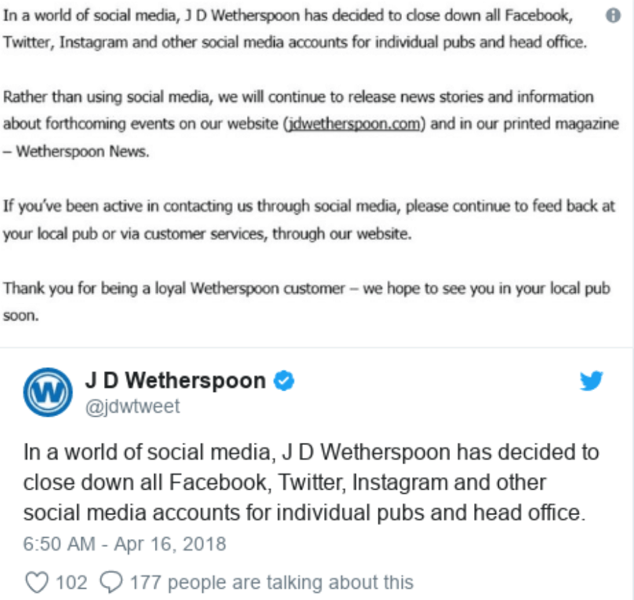 5f44682243 JD Wetherspoon Closes all Social Media Accounts - Wise or Stupid ...